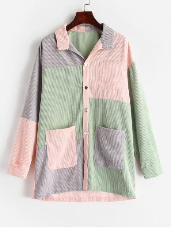 fashion ZAFUL Color Block Longline Corduroy Coat - MULTI S