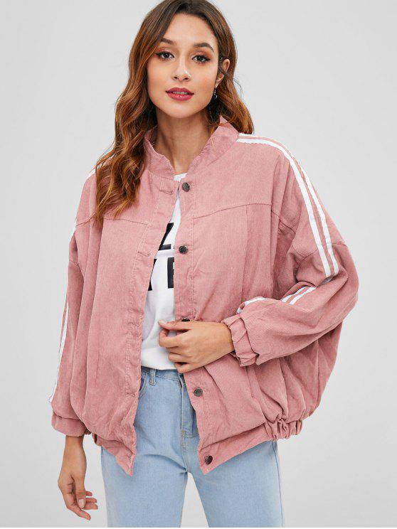 chic Baggy Faux Fur Lined Corduroy Jacket - PINK ONE SIZE