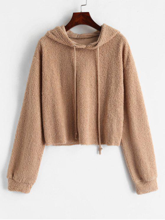 outfit ZAFUL Solid Color Crop Faux Fur Hoodie - LIGHT KHAKI M