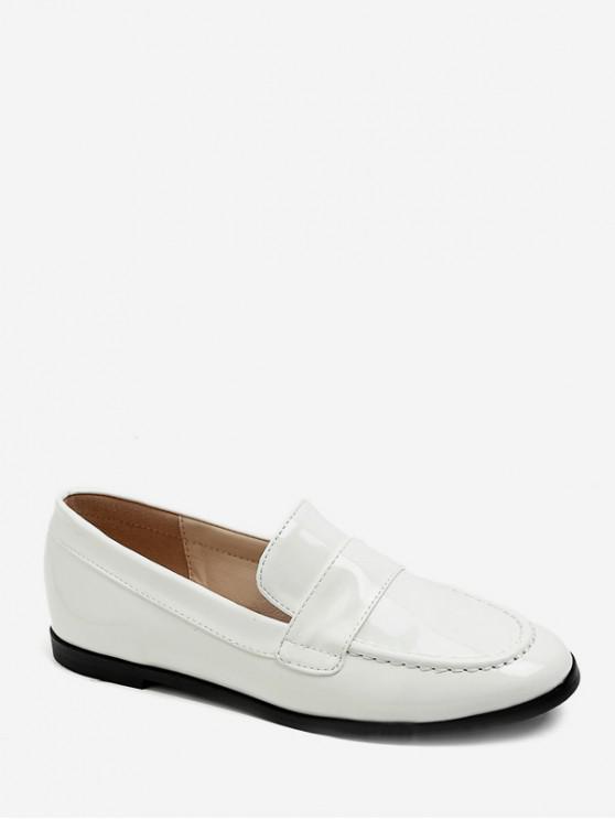 lady Moc Toe PU Leather Loafers Flats - WHITE EU 39