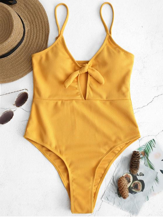 trendy Ribbed Knotted Cami Swimsuit - BEE YELLOW M