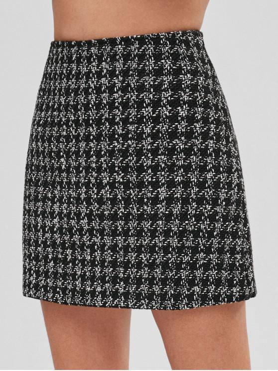 affordable Tweed Mini Plaid Skirt - BLACK S