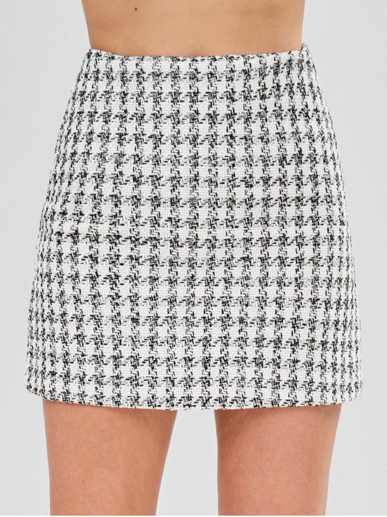 Tweed Mini Saia Xadrez - Branco S