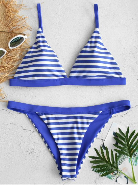 ZAFUL Ensemble de Bikini Rayé String - Bleu Myrtille M
