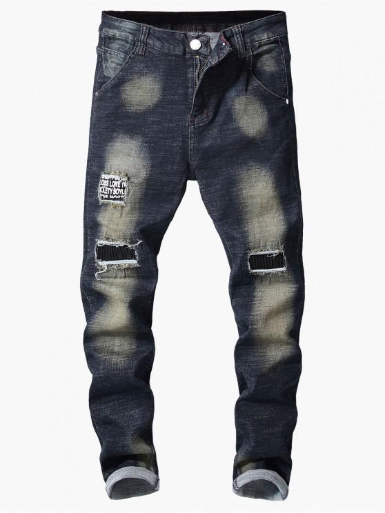 shop Retro Ripped Hole Patchwork Paint Jeans - LAPIS BLUE 36