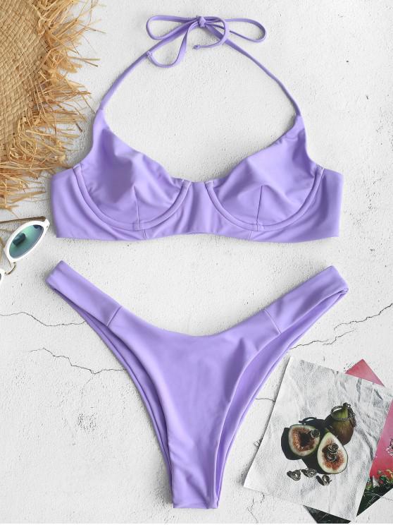 13fc663f73f39 53% OFF] [HOT] 2019 ZAFUL Tie Halter Underwire Bikini Set In MAUVE ...