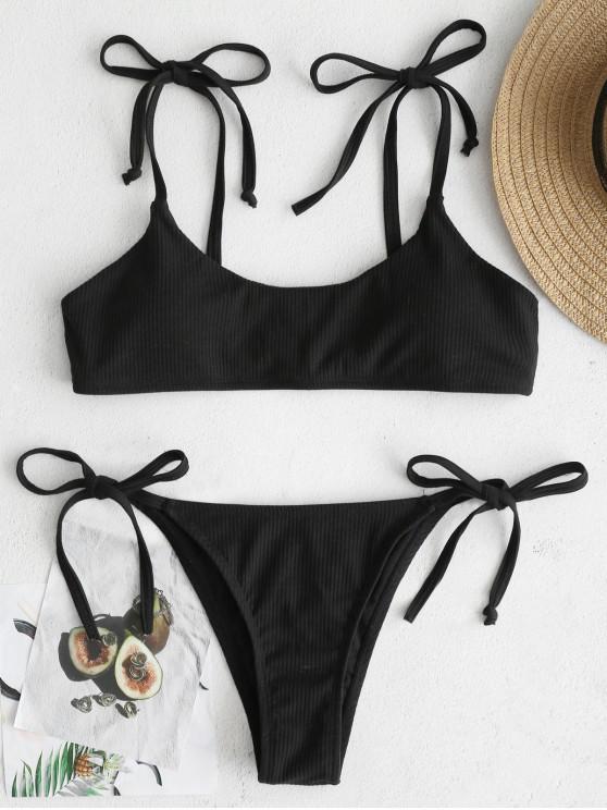 women ZAFUL Tie Ribbed Bikini - BLACK L