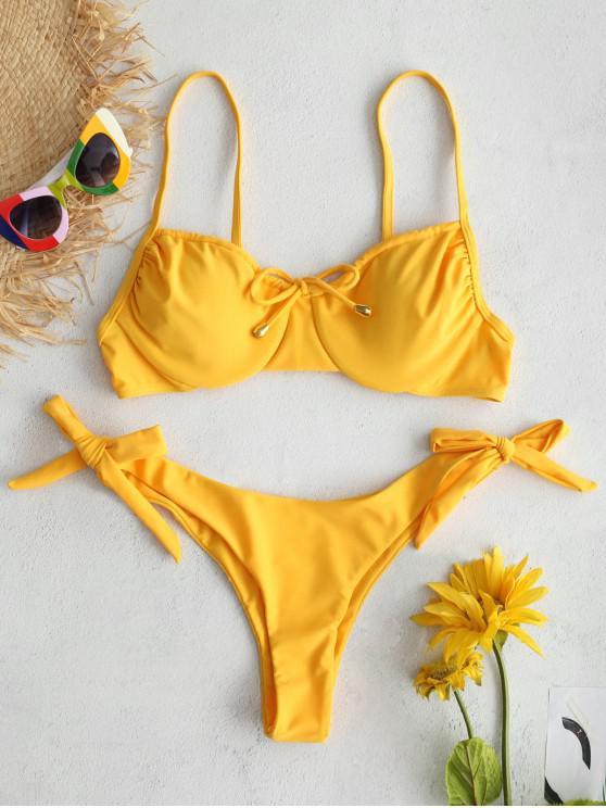 ZAFUL Underwire Tie Conjunto de Biquíni Balconette - Amarelo Brilhante S
