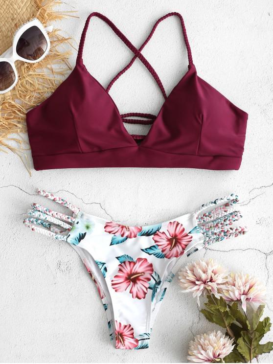 women's ZAFUL Lace-Up Braided Flower Bikini Set - RED WINE M