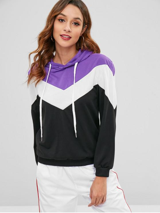 shops Hit Color V-shaped Stripe Hoodie - MULTI-C M