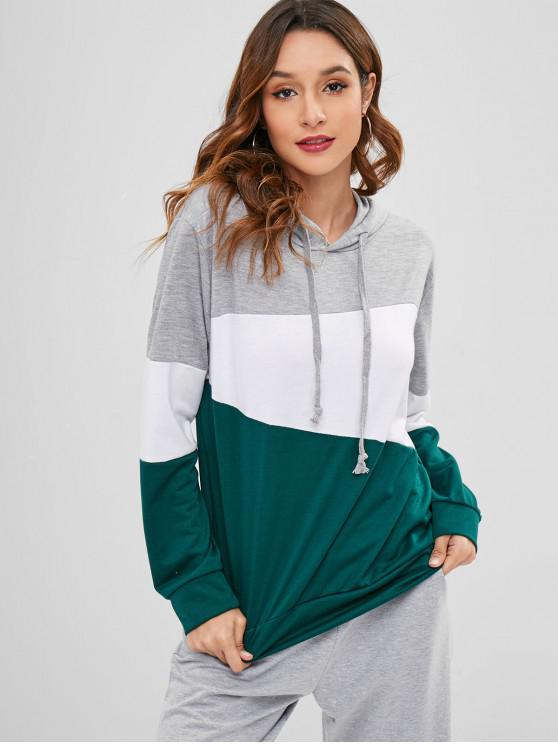 affordable Zaful Cotton Color Block Hoodie - MULTI M