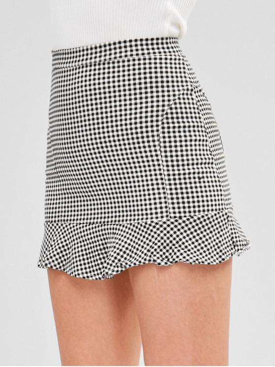 fashion Short Gingham Ruffled Skirt - MULTI L