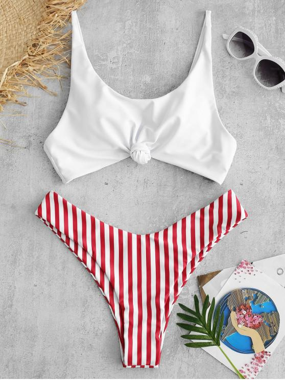 trendy ZAFUL Brazilian Flag Print Contrast Striped Knot Bikini Set - RED S