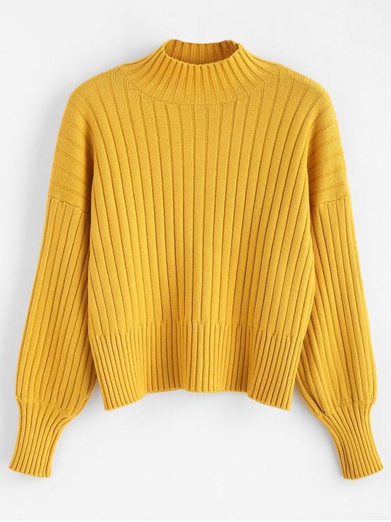 women Dropped Shoulder Mock Neck Sweater - MUSTARD ONE SIZE