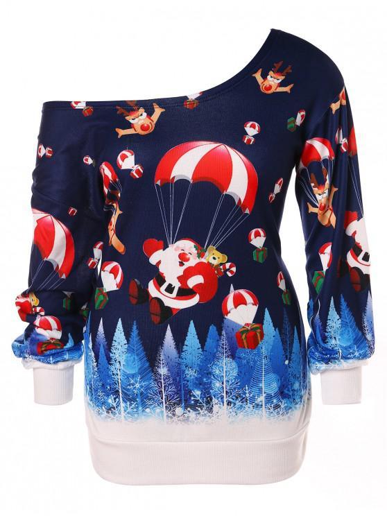 fashion Christmas Plus Size Santa Claus Print Skew Neck Sweatshirt - DEEP BLUE L