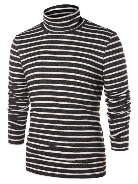 hot High Collar Striped Long Sleeve T-shirt - MULTI 2XL