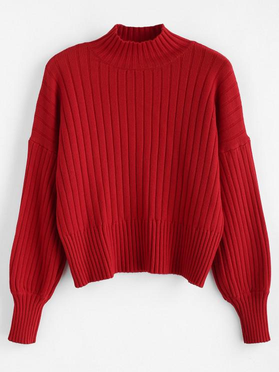 unique Dropped Shoulder Mock Neck Sweater - RED ONE SIZE
