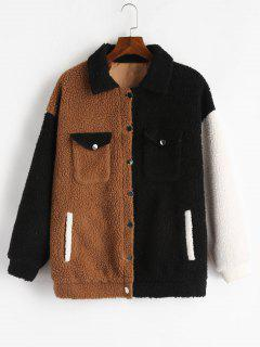 ZAFUL Fluffy Color Block Winter Teddy Coat - Multi L