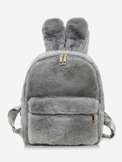 Faux Fur Rabbit Ear Shape Backpack - Gray