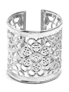 Hollow Floral Design Cuff Bracelet - Silver