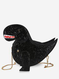 Dinosaur Shape Glisten Chain Crossbody Bag - Black
