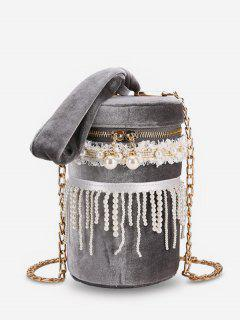 Faux Pearl Fringe  Chain Crossbody Bag - Gray