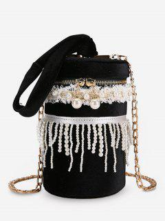 Faux Pearl Fringe  Chain Crossbody Bag - Black