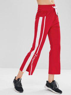 Letter Embroidered Slit Pants - Red M