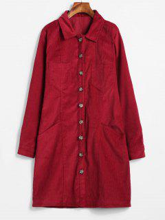 Mini Robe Chemise Avec Poches En Velours Côtelé - Rouge Vineux M