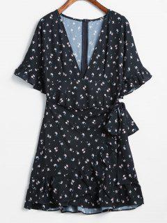 Overlap Printed Ruffles Mini Dress - Black M