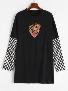 Flame Print Checked Long Sleeve Tee - Black M