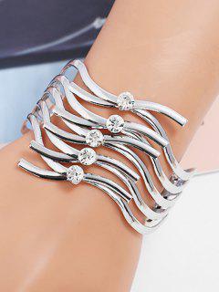 Rhinestone Layered Metal Cuff Bracelet - Silver