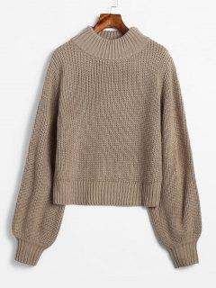 Lantern Sleeve Chunky Sweater - Camel Brown
