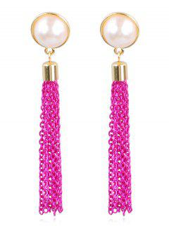 Unique Faux Pearl Fringed Drop Earrings - Dimorphotheca Magenta