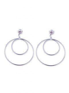 Double Round Geometric Shape Metal Earrings - Silver