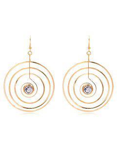 Rhinestone Layered Round Shape Punk Hook Earrings - Gold