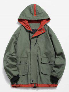 Contrast Pockets Casual Jacket - Camouflage Green M