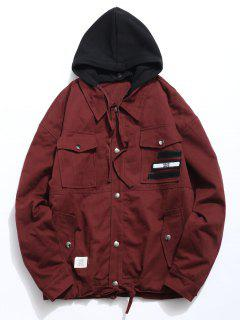 Detachable Hat Pockets Quited Jacket - Red Wine S
