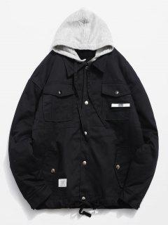 Detachable Hat Pockets Quited Jacket - Black Xl