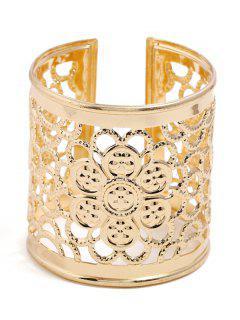 Hollow Floral Design Cuff Bracelet - Gold