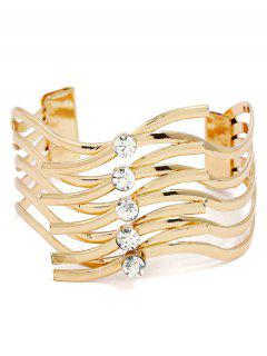 Rhinestone Layered Metal Cuff Bracelet - Gold