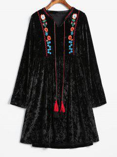 Velvet Embroidered Straight Dress - Black L