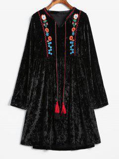 Velvet Embroidered Straight Dress - Black S