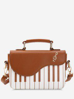 Contrast Color Piano Print Handbag - Light Brown