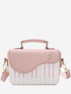 Contrast Color Piano Print Handbag - Light Pink
