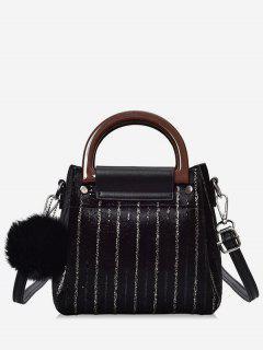 Glisten Faux Fur Ball Handbag - Black