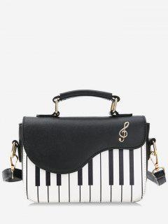 Contrast Color Piano Print Handbag - Black
