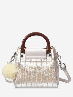 Glisten Faux Fur Ball Handbag - Beige