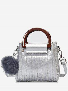 Glisten Faux Fur Ball Handbag - Silver