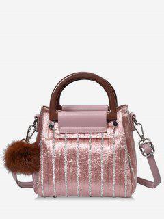 Glisten Faux Fur Ball Handbag - Pink